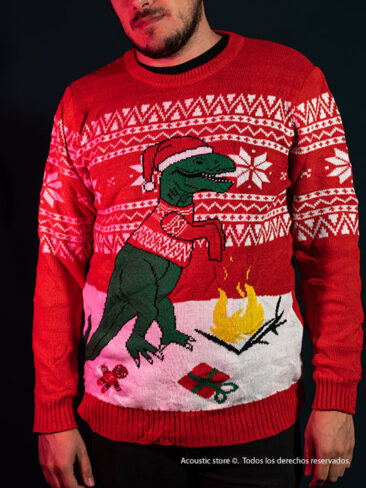 T- rex fire Christmas ugly sweaters